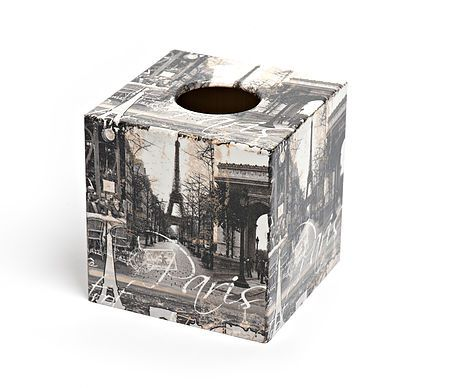 Paris Tissue Box Cover by Crackpots Tissue boxes and Bins - hand decoupaged in our home for yours!