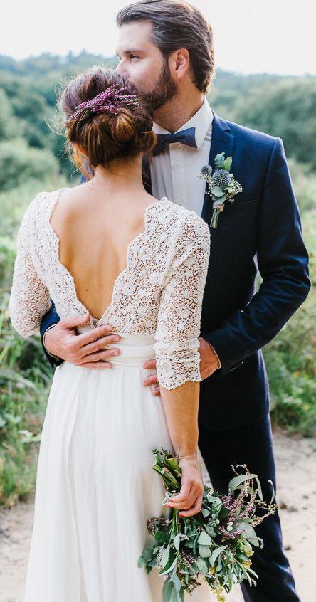 3/4 Ärmel Sehen Sie sich die rustikalen Brautklei…