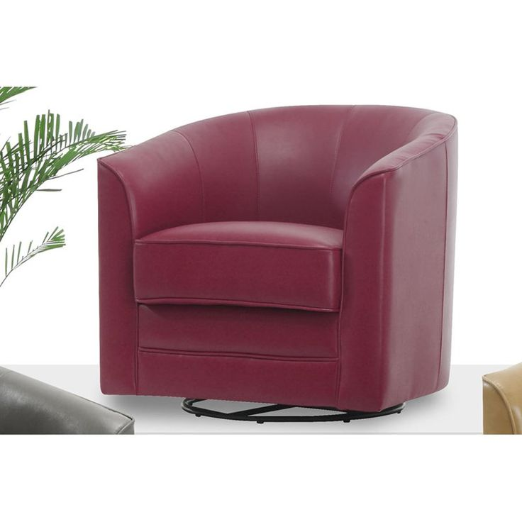 Best Emerald Home Furnishings Milo Bonded Leather Swivel Chair 400 x 300