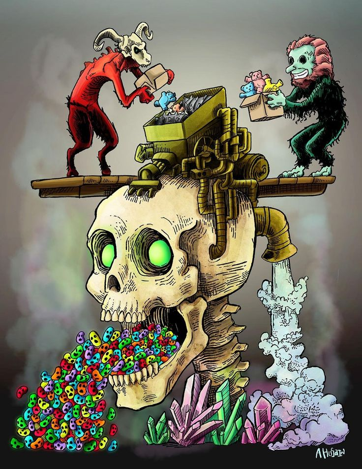 """Haunted Jelly Bean Machine, Ink With Digital Coloring, 8.5"""" X 11"""""""