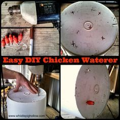 Easy DIY Chicken Waterer  http://www.whistlepighollow.com/2013/10/27/the-bestest-and-cheapest-chicken-waterer-diy-nipple/