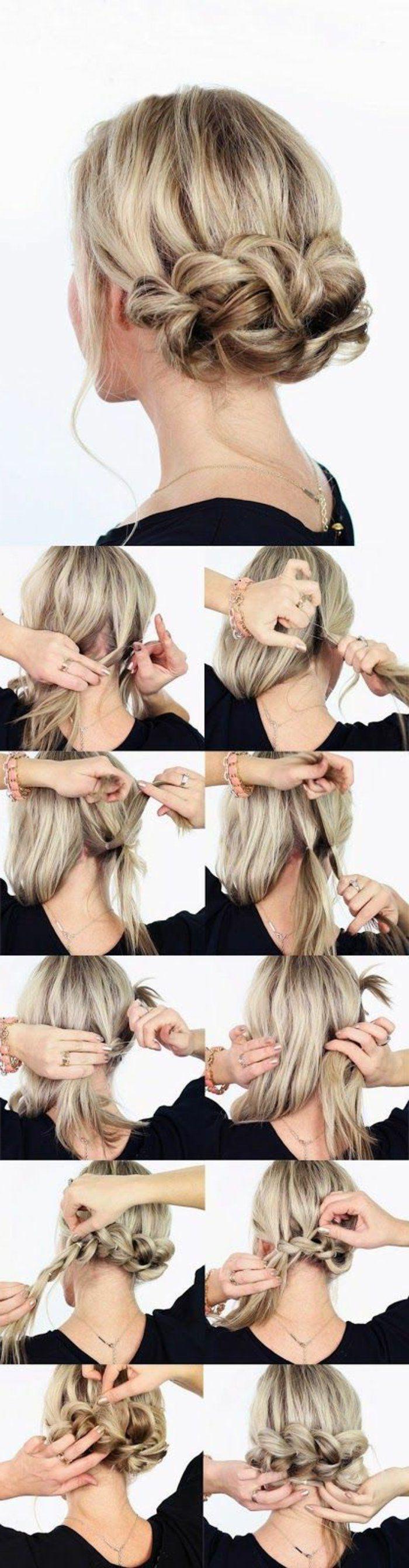 tuto coiffure cheveux mi long blond, tutoriel coiffure facile et rapide