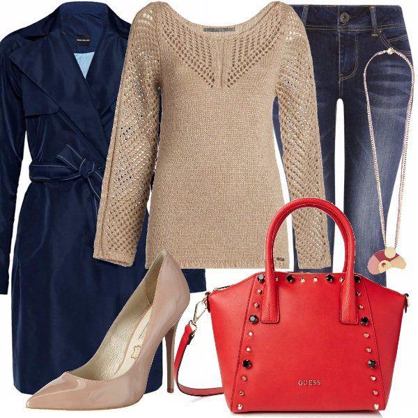 Outfit+raffinato+per+tutti+i+giorni,+lavoro+e+tempo+libero.+Jeans+skinny+abbinato+a+deliziosa+maglia+pink+silver+di+Guess+e+a+trench+blu+marino+Pennyblack.+Abbiamo+poi+borsa+a+mano+red+di+Guess,+con+applicazioni+multicolor+e+décolleté+nude+con+tacco+a+spillo.+Per+finire,+la+deliziosa+collana+fuxia,+come+unico+gioiello+per+completare+questo+bel+look.