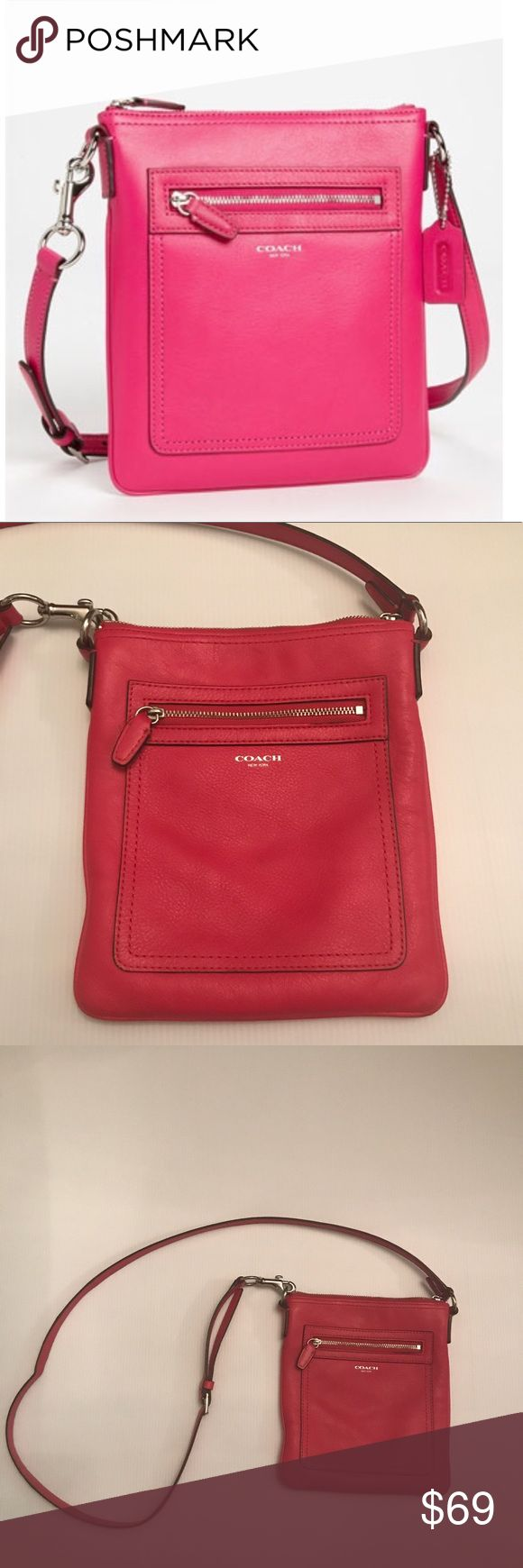Pink Coach Legacy Leather Crossbody Pink leather crossbody. Has some small stain on the back side (seen in last 2 photos) otherwise in great condition. Coach Bags Crossbody Bags