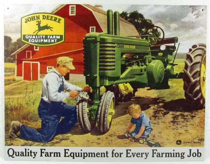 John Deere Poster Father Son Tractor Farming 1950 Print Ad Dealer photo