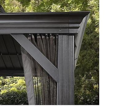 12x16 Steel Hardtop Gazebo Galvanized Metal Roof Mosquito Netting Aluminum Frame