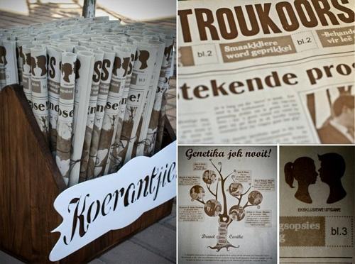 Wedding newspaper for morning wedding