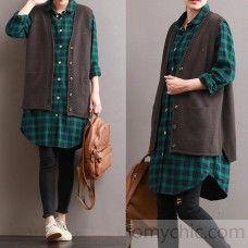 2017 otoño nuevas telas sin mangas de punto de color marrón suelto informal v cuello chaleco sin mangas