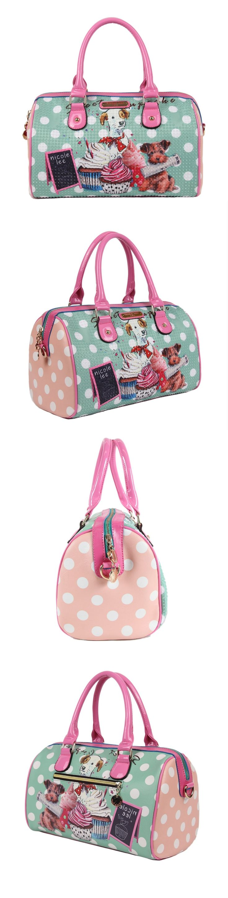 CUPCAKE DOG PRINT BOSTON BAG by Nicole Lee #nicolelee #nicolelee2014 #handbag