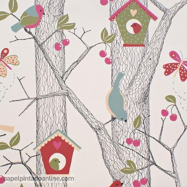 Papel pintado infantil lilleby 2652 con con troncos for Papel pintado infantil