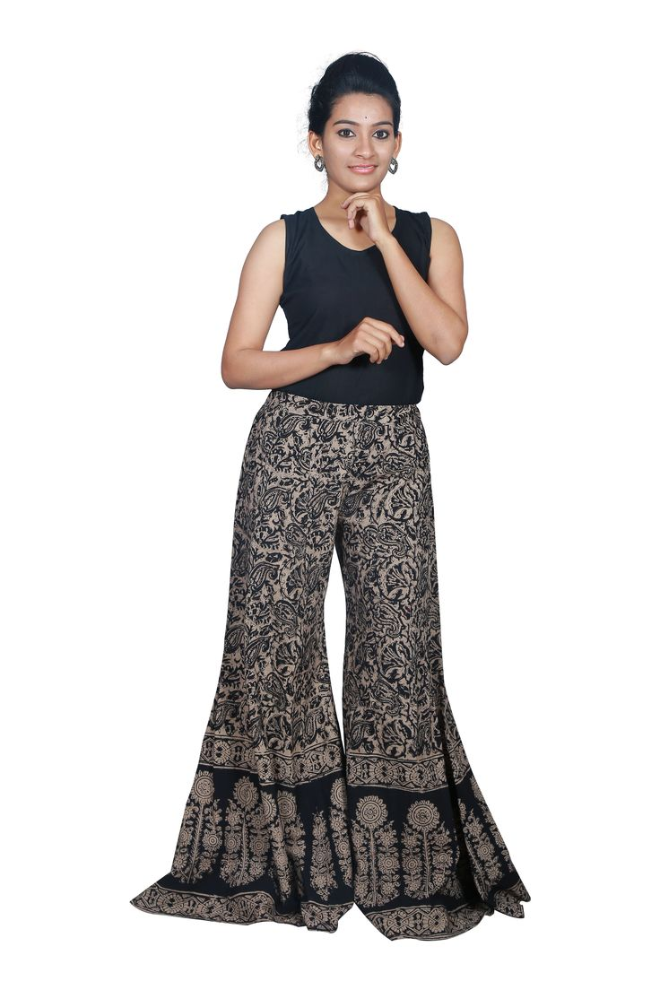 Making a fashion statement is no time to be boring with this kalamkari palazzo pant. cost:Rs 895/- (for trade inquiries please contact our whatsapp no  Single / Retail Customer ...please contact 8099433433 B2B/Resellers/Bulk buyers...please contact 8801302000)