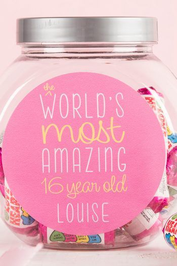 Personalised Love Hearts Jar 16 Pink 220x330 Sweet 16th birthday Gift Ideas