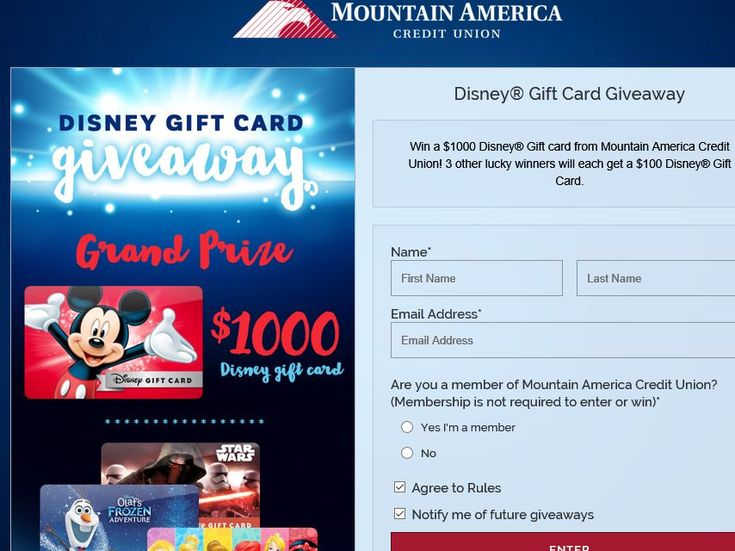 Enter the Mountain America Credit UnionDisney Gift Card Giveaway Sweepstakes for your chance to win a $1,000 Disney Gift Card!