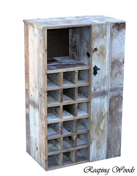 Large Reclaimed Rustic Barn Wood Wine Storage Cabinet Rack