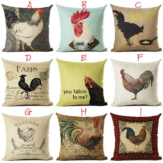 Vintage Rooster Chicken Printed Square Throw Pillow Covers