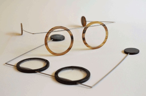 PETER KLENK, MOBILE SPECTACLE FRAME, BUFFALO HORN, SPRING STEEL.