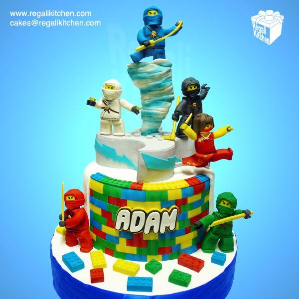 Ninjago Cake_LEGO Cake_Blue_White_Black_Red_Green_Nya_Ninja Go_Cartoon Network_Spinjitzu_Geek_Geeky Cake_Weapons