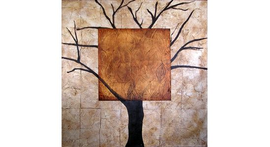 Add style to your walls with this original hand- painted oil on canvas created by renowned artist Marie Frederique - Winter Tree With Autumn Leaves, 40x40