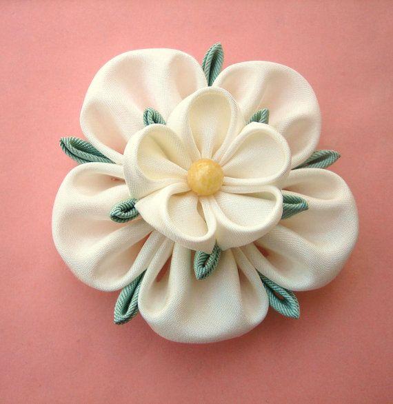 Ivory Flower Bridal Fascinator: Yorkshire Rose Kanzashi Brooch or Hair Piece