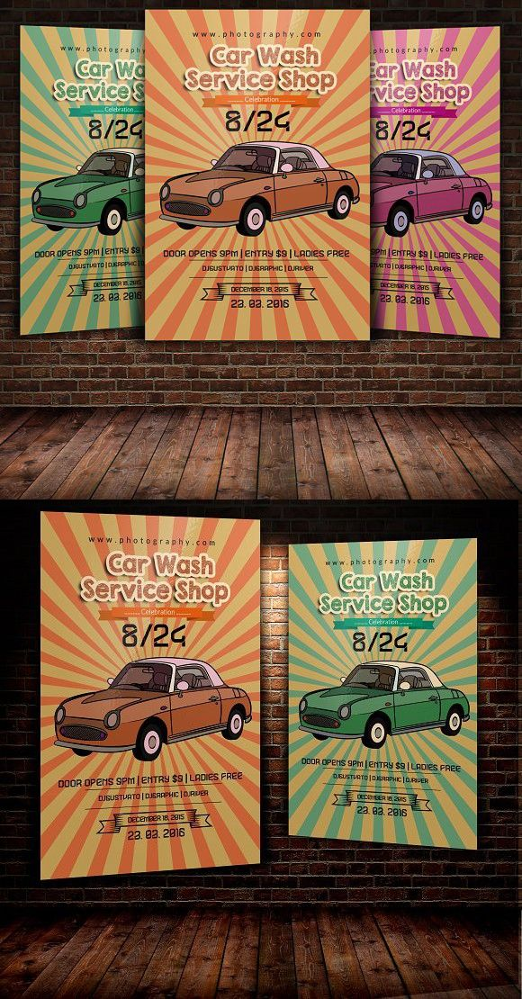 Retro Car Wash Flyer Template. Creative Business Card Templates