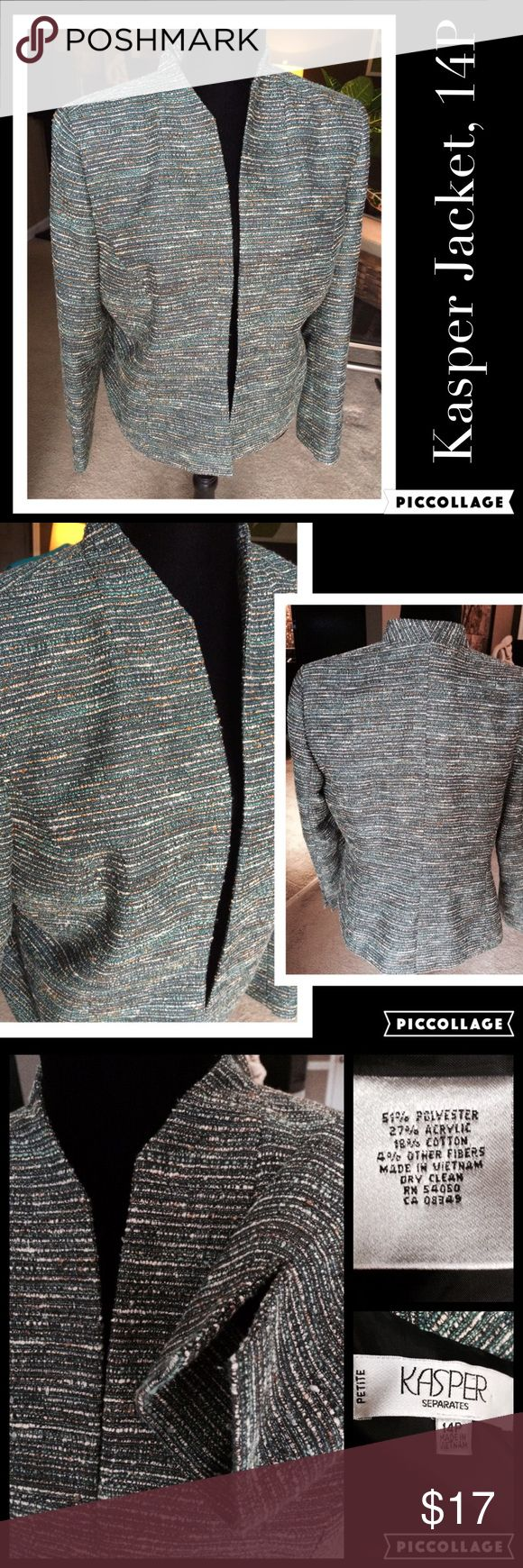 Kasper Blazer Jacket, 14P Kasper Blazer Jacket, 14P, beautiful with jeans or for work, great over cream Tee or blouse, like new, fully lined, fits to waist/upper hip, mixture of greens, creams and tan Kasper Jackets & Coats Blazers