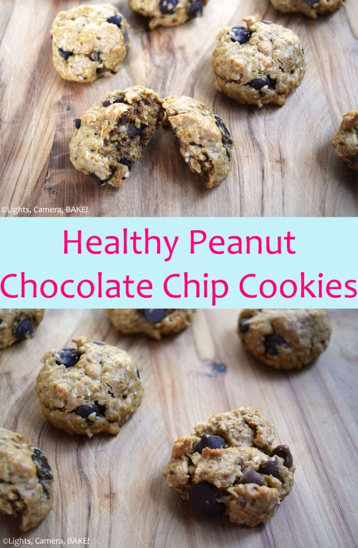 Healthy Peanut Chocolate Chip Cookies are vegan, refined sugar free, dairy free and wheat free. These use coconut oil, peanut butter, oats and oat flour and of course chocolate chips to make these soft, chewy and unhealthy tasting! #healthypeanutcookies #veganpeanutbuttercookies #veganchocolatechipcookies #vegancookiesrecipe