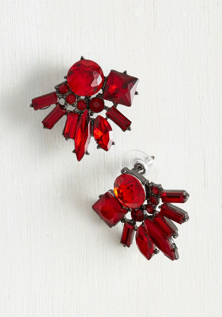 Jewel's in Session Earrings. You wrote the coursebook on striking sophistication by flaunting these ruby red earrings - now share your lessons with style students everywhere! #red #modcloth