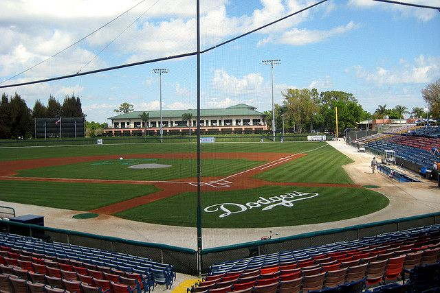 Holman Stadium in Vero Beach, Florida.  Home of the Vero Beach Dodgers an A affiliate of the Los Angeles Dodgers.  Florida State League.  Professional.