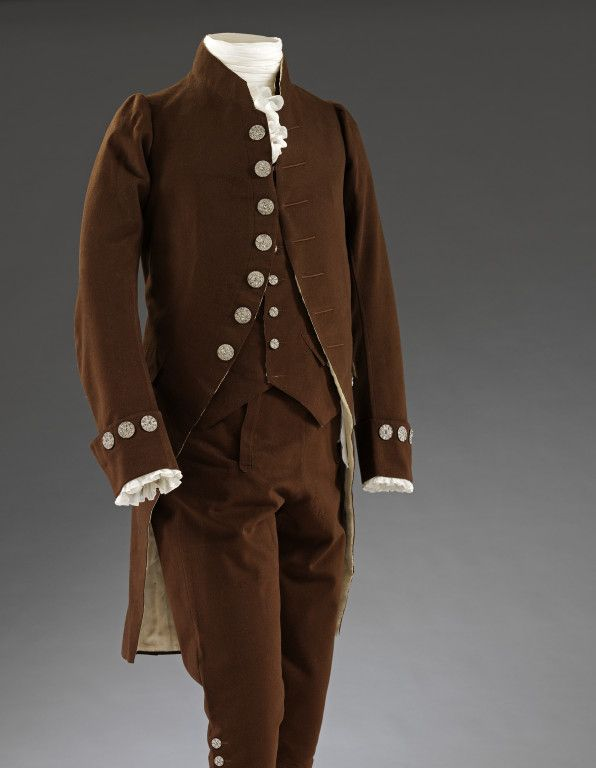 Coat, waistcoat and breeches, dark brown wool, with steel-cut buttons, French, ca. 1780. V&A