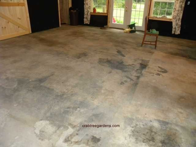 Original grease and paint stained floor