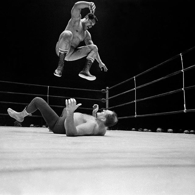 "In this picture taken by our staff photographer Larry C. Morris, the wrestler Victor Rivera looks like a champion. In the ring at Madison Square Garden, he hovers over Killer Kowalski, one of his opponents in a feature heavyweight wrestling event. But things didn't end well for Victor and his partner, Bruno Sammartino, on this night in January 1969. ""While many in the crowd of 11,568 fans roared their disapproval, Kowalski and Monsoon punched and kicked Sammartino in their corner as his…"