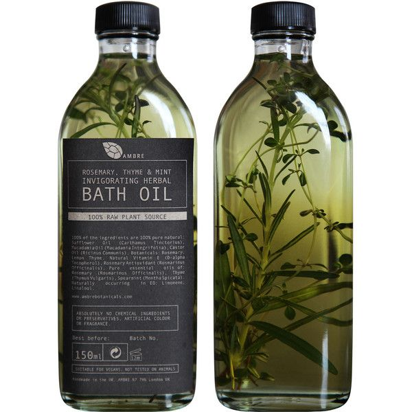 AMBRE BOTANICALS - Rosemary, Thyme & Mint Invigorating Herbal Bath Oil found on Polyvore featuring beauty products, bath & body products, body cleansers, fillers, beauty, makeup, food, home and ambre