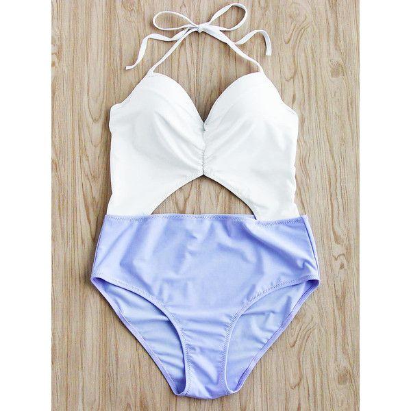 SheIn(sheinside) Two Tone Cutout Front Halter Bikini Set ($14) ❤ liked on Polyvore featuring swimwear, bikinis, push up halter bikini, white halter top bikini, push-up bikinis, push up bikini swimwear and one-piece swimwear