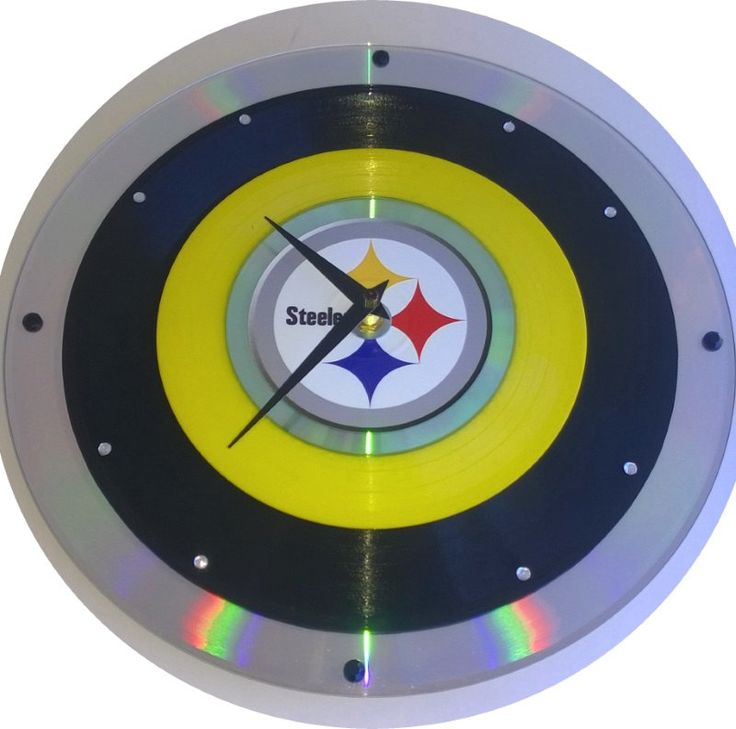 Pittsburgh Steelers Laser Disc Clock w/ yellow 45 rpm and 78 rpm record & Cd - STeeLeRs cLoCk!! by Clocks2u on Etsy