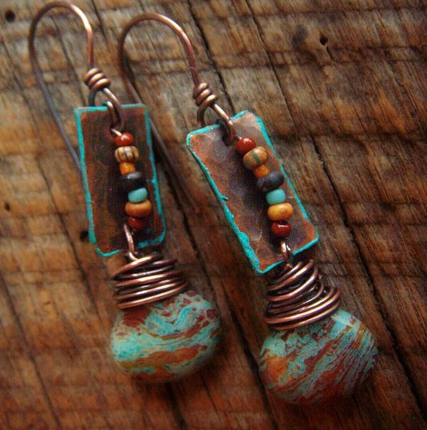 Copper Glass and Blue Sky Jasper Beaded Earrings by yuccabloom