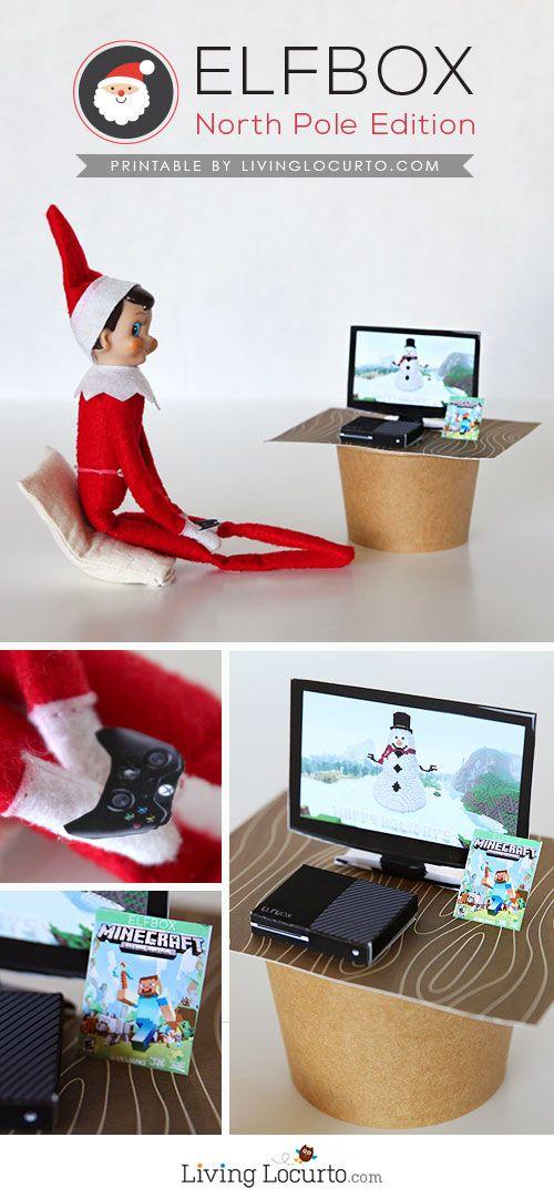 Fun Elf on the Shelf idea! Tiny elf sized XBox Console, TV and Minecraft Game Printables. So cute! LivingLocurto.com