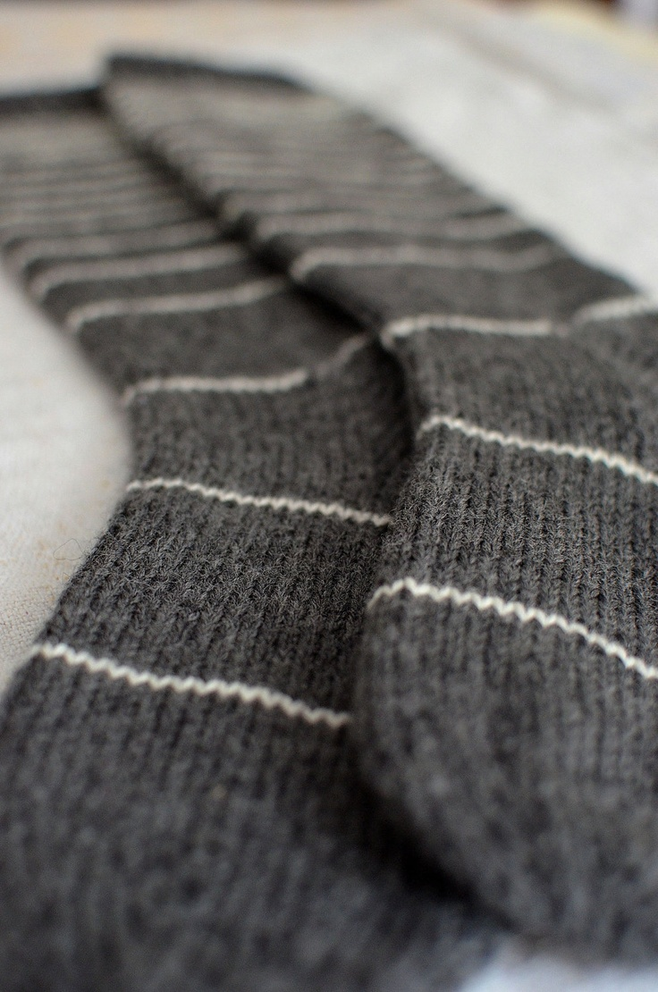 Grey and cream striped wool socks