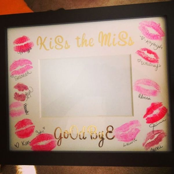 Love This!! Cheap and easy DIY bachelorette party gift: plain mat with stickers, guests apply lipstick, kiss and sign! by foxasd