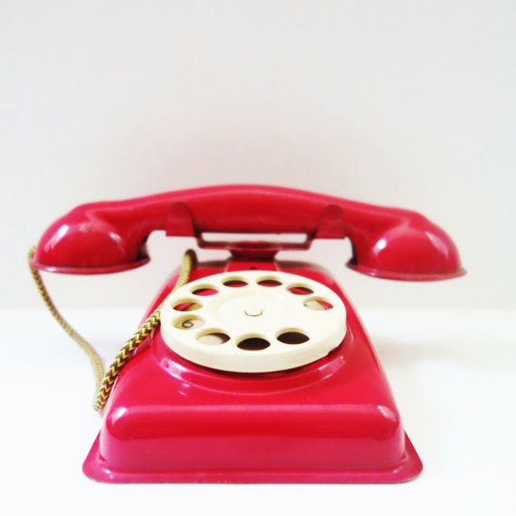 Vintage Toy Phone Bright red play phone Tin by ZomaleeVintage, $45.00