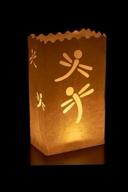 10 Dragonfly white paper candle lantern bags wedding party favor