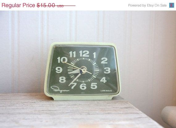 SALE Ingraham Alarm Clock Ingraham Clock green clock by MollyFinds, $12.75