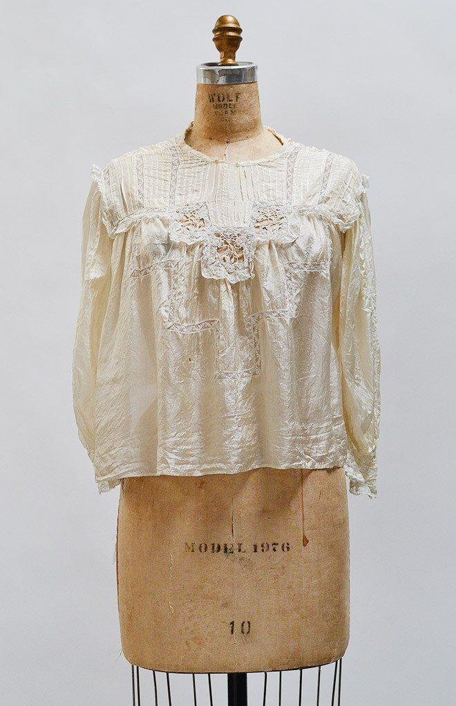 Le Sylphide Blouse / antique 1900s blouse / Edwardian silk top