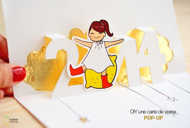 DIY carte de voeux pop up a imprimer