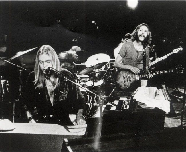 The Allman Brothers Band performing at the Filmore East, 1971