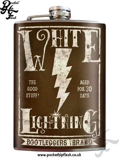 Art inspired stainless steel White Lightning hip flask @ The Pocket Hip Flask Company: