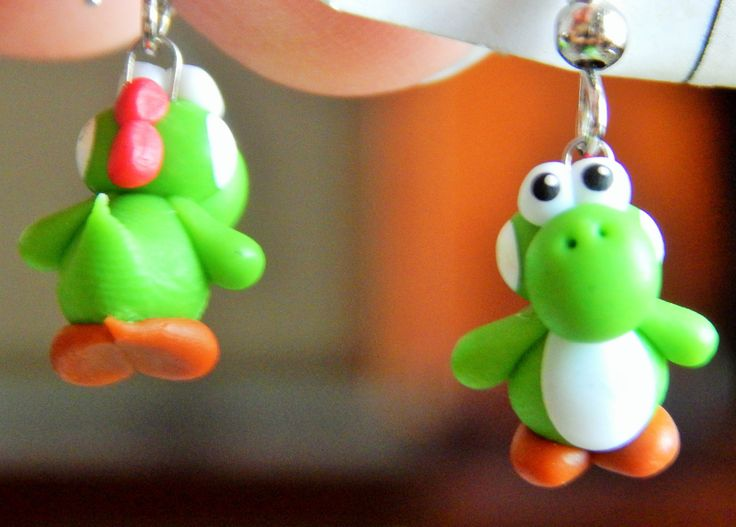polymer clay miniature earrings - Yoshi from Mario games