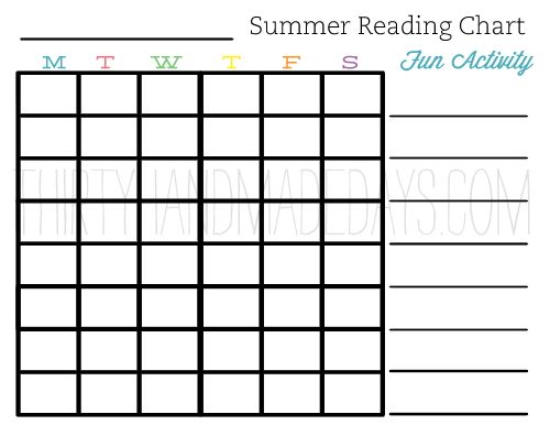 Summer reading chart on @30days.