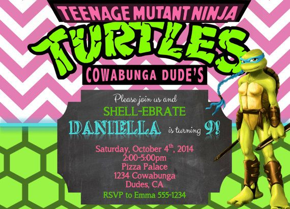 321 best eb's party hardy images on pinterest | ninja turtle party, Party invitations