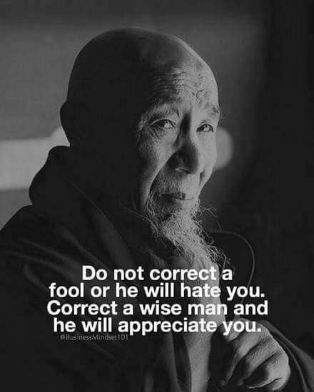 """Do not correct a fool or he will hate you. Correct a wise man and he will appreciate you."""
