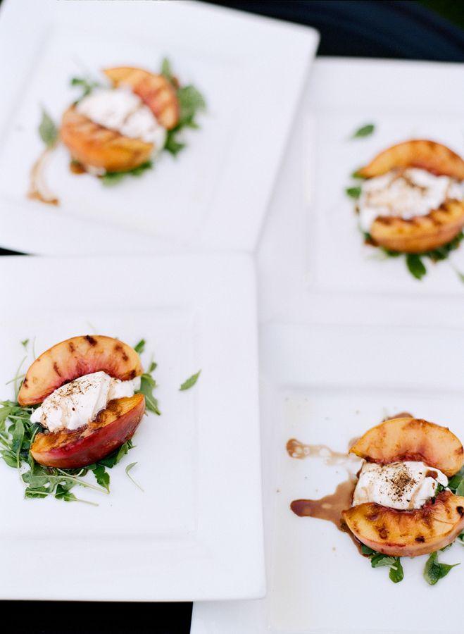 Grilled peaches:, http://www.stylemepretty.com/2016/03/24/a-modern-take-on-the-backyard-wedding/ | Photography: Lacie Hansen - http://laciehansen.com/